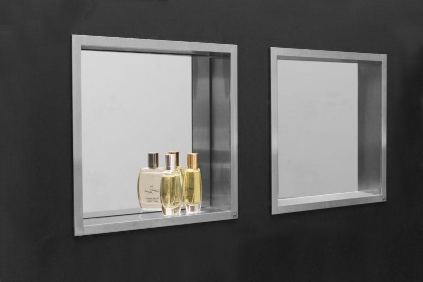 ESS Container Wandnische mit Spiegel in 30x30x7 und 60x30x7 cm, Dusche/Bad  aus Edelstahl